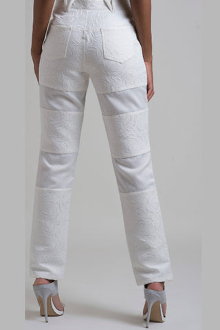 3D Floral Patterned Cotton Brocade Patch-Panel Pants - White