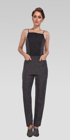 Eyelet Combo Shift Jumpsuit - Charcoal