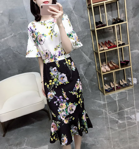 SCANDINAVIA-Floral Ruffle Office Dress