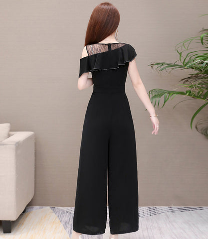 3/4 Leg Jumpsuit with Mesh Detail
