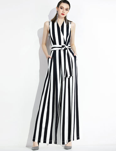 Sleeveless Stripe Wide Leg Jumpsuit