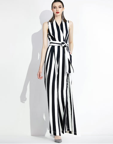SCANDINAVIA-Sleeveless Stripe Wide Leg Jumpsuit