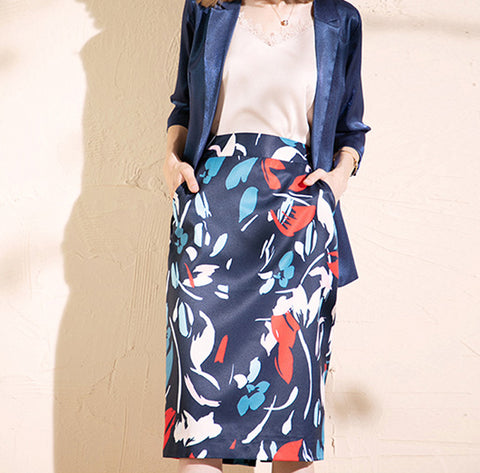 SCANDINAVIA-Printed Pencil Skirt