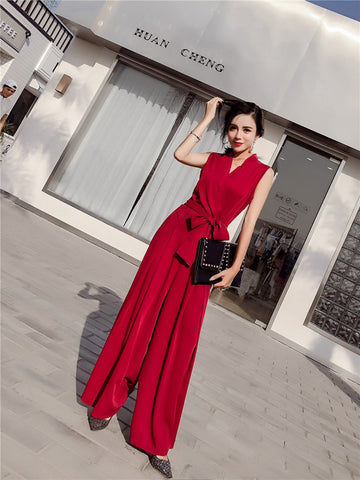 SCANDINAVIA-Sleeveless V-neck Wide Leg Jumpsuit