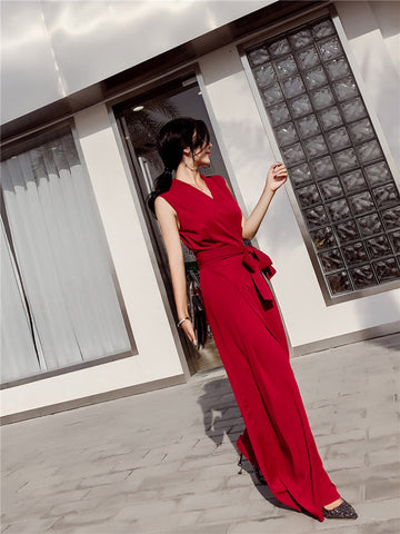 Sleeveless V-neck Wide Leg Jumpsuit