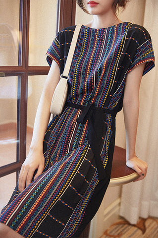 SCANDINAVIA-Cap Sleeve Color Stripe Belted Shift Dress