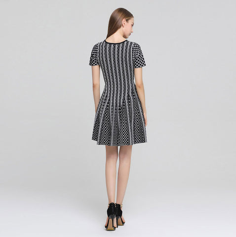 TWO PEARS-Short Sleeve V-Neck Knitted A-line Dress