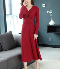 TWO PEARS-Long Front Draped V-Neck Dress