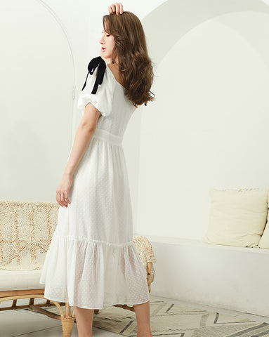 TWO PEARS-Puff Sleeve Shoulder Bowknot Ruffle Hem Shift Dress