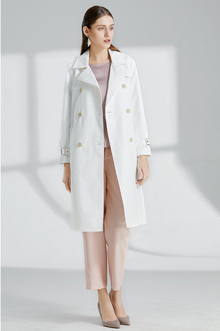 TWO PEARS-Double Breasted White Trench Coat