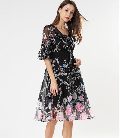 Ruffled Sleeve Floral Dress