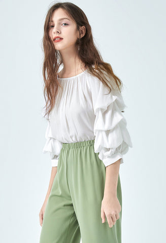 Draped Sleeve Off Shoulder Tops