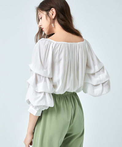 TWO PEARS-Draped Sleeve Off Shoulder Tops