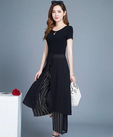 TWO PEARS-Short Slit Long Top and Wide Leg Pants Two-piece Set