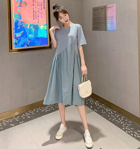 TWO PEARS-Short Sleeve Oversized Shift Dress