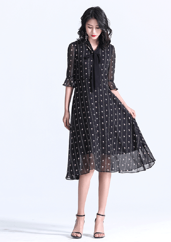 TWO PEARS-Ruffle Sleeve Tie Neck Fit & Flare Dress