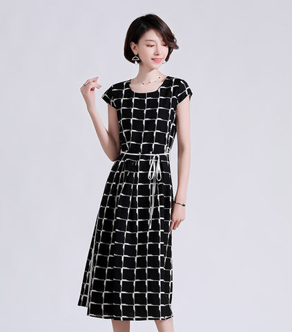 TWO PEARS-Cap Sleeve Plaid Fit & Flare Dress