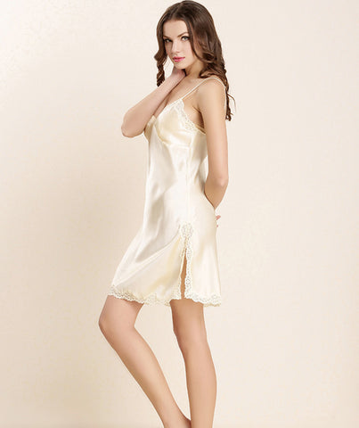 TWO PEARS-Spaghetti Strap V-neck Short Bottom Dress