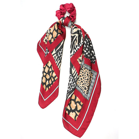 Two-in-One Super big Hair Scarf Scrunchies Ponytail Trendy and Colorful Modern Design in Red and Leopard