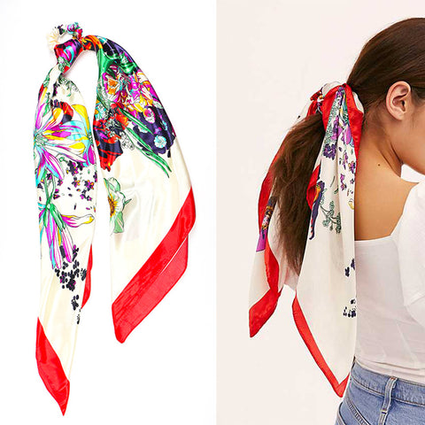 Two-in-One Super big Hair Scarf Scrunchies Ponytail Trendy and Colorful Modern Design in Multicolor