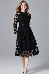 THREE QUARTER SLEEVE HOLLOW OUT LACE DRESS