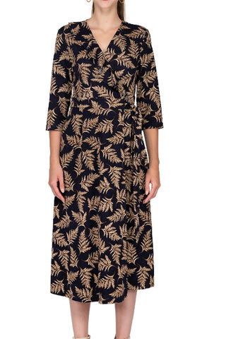 Leaf Pattern Wrap Dress