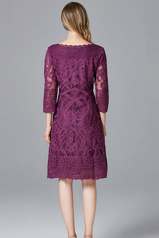 THREE QUARTER SLEEVE EMBROIDERED MIDI DRESS