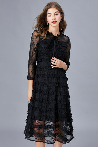 RUFFLE ACCENT TIE-NECK LACE DRESS