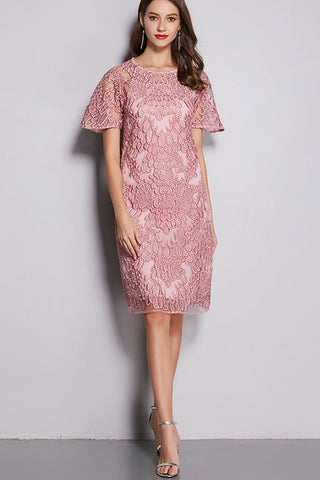 SHORT SLEEVE EMBROIDERED LACE DRESS