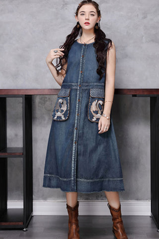 SLEEVELESS BUTTON FRONT DENIM SHIFT DRESS