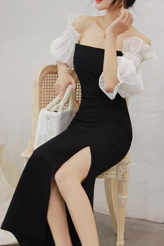 OFF SHOULDER PUFF SLEEVE SLIT SHEATH DRESS