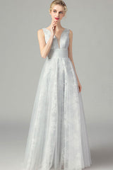 SLEEVELESS DOUBLE V-NECK EMBROIDERED TULLE MAXI DRESS