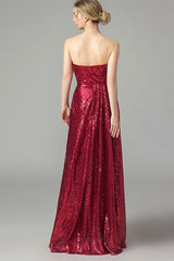STRAPLESS HIGH SLIT SEQUIN MAXI DRESS