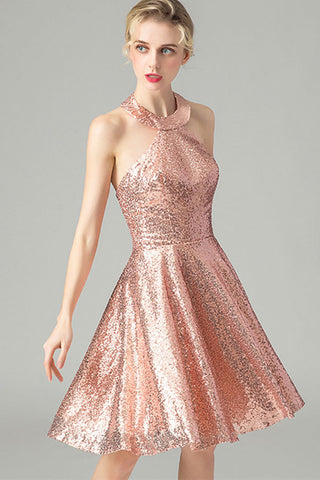 HALTER NECK BACKLESS SEQUIN A-LINE DRESS