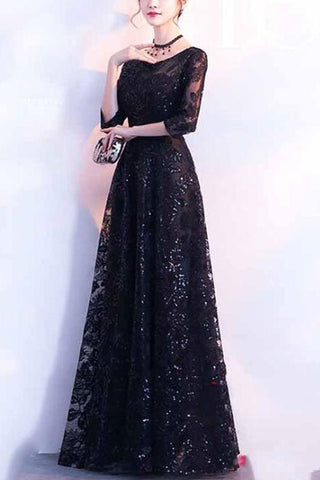 HALF SLEEVE SEQUIN MAXI DRESS