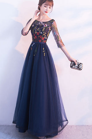 HALF SLEEVE EMBROIDERED TULLE MAXI DRESS