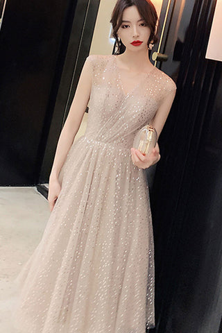 SLEEVELESS V-NECK SEQUIN TULLE DRESS