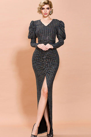 PUFF SLEEVE HIGH SLIT SEQUIN MAXI DRESS