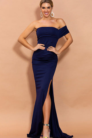 SINGLE OFF SHOULDER SIDE DRAPED MAXI DRESS