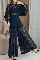 Puff Sleeve Top and Wide Leg Pant Lace Two-piece Set