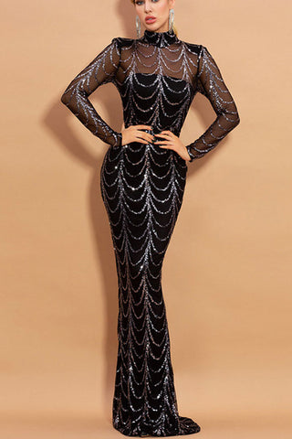 Long Sleeve Sequin Maxi Dress