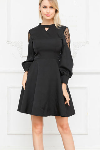 Bell-Sleeve-Back-Bowknot-A-line-Dress