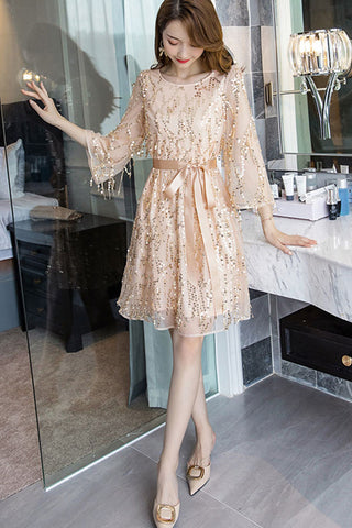 Three Quarter Sleeve Waist Belted Sequin A-line Dress