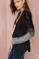 Sequin Sleeve One Buckle Asymmetrical Hem Blazer Jacket Suit Coat