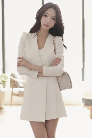 Front Slit Ruffle Long Blazer Jacket Suit Coat