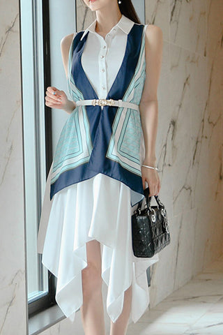 Sleeveless Contrast Asymmetrical Dress With Belt