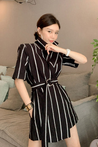 Lapel Collar Waist Belted Layered Jumpsuit