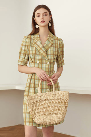 Short Sleeve Double-breasted Plaid A-line Dress