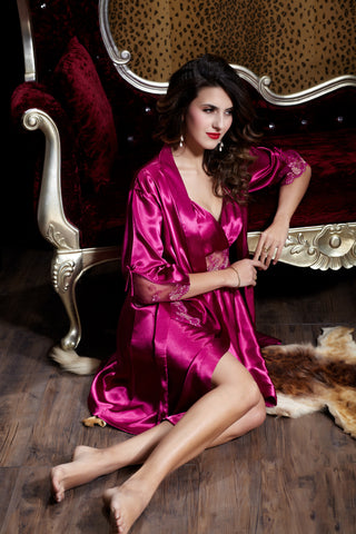 Shiny and Elegant! Two-Piece pajama set in Kimono style wz Spaghetti dress -  Fushia