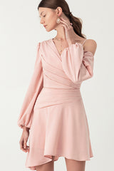 Single Shoulder Draped Asymmetrical A line Dress